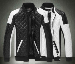 long white leather motorcycle jacket Canada - 2015 Spring new fashion men's jacket Simple Hit color pu leather jacket Motorcycle jacket slim men's Winter coat mens jackets men's Outwear