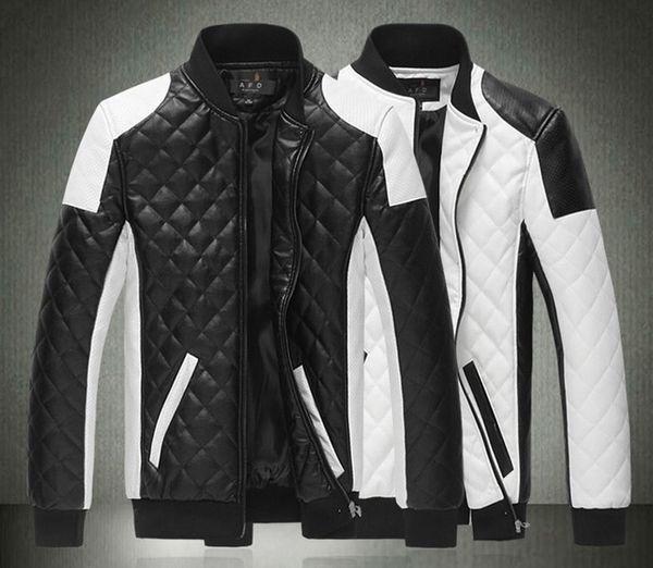 top popular 2015 Spring new fashion men's jacket Simple Hit color pu leather jacket Motorcycle jacket slim men's Winter coat mens jackets men's Outwear 2019
