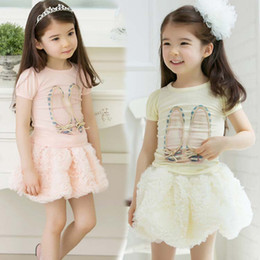 Wholesale Wholesale Two Piece Skirt Suits - Girl Suit Outfits Children Set Short Sleeve T Shirt Fashion Lace Princess Skirts Child Suit Kids Sets Pleated Skirt Two-Piece Girls Outfits