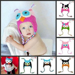 Wholesale Childrens Owl Hats - Owl EarFlap Crochet Hat Baby Handmade crochet Hat childrens handmade owl beanie Knitted hat baby caps 15 Color Cartoon Animals hats