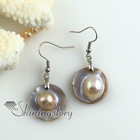 Ronde Roze Oyster Sea Shell Moeder van Parel Zoetwater Parel Oorbellen Goedkope China Sieraden Mode-sieraden