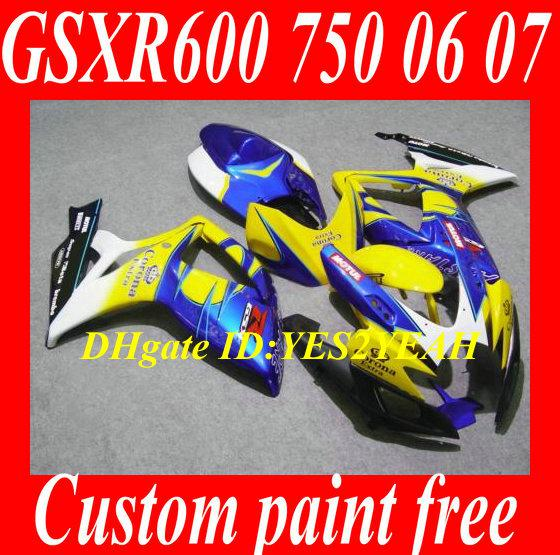 Kit de carenado de carrocería para 2006 2007 SUZUKI GSXR600 750 GSXR600 GSXR750 K6 06 07 GSXR 600 GSXR 750 kit carenados azul amarillo