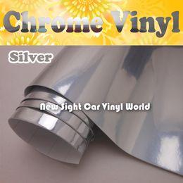 $enCountryForm.capitalKeyWord NZ - High Glossy Silver Chrome Vinyl Film For Car Stickers Air Bubble Free Size: 1.52*30M Roll