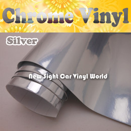 Wholesale Chrome Vinyl Rolls - High Glossy Silver Chrome Vinyl Film For Car Stickers Air Bubble Free Size: 1.52*30M Roll