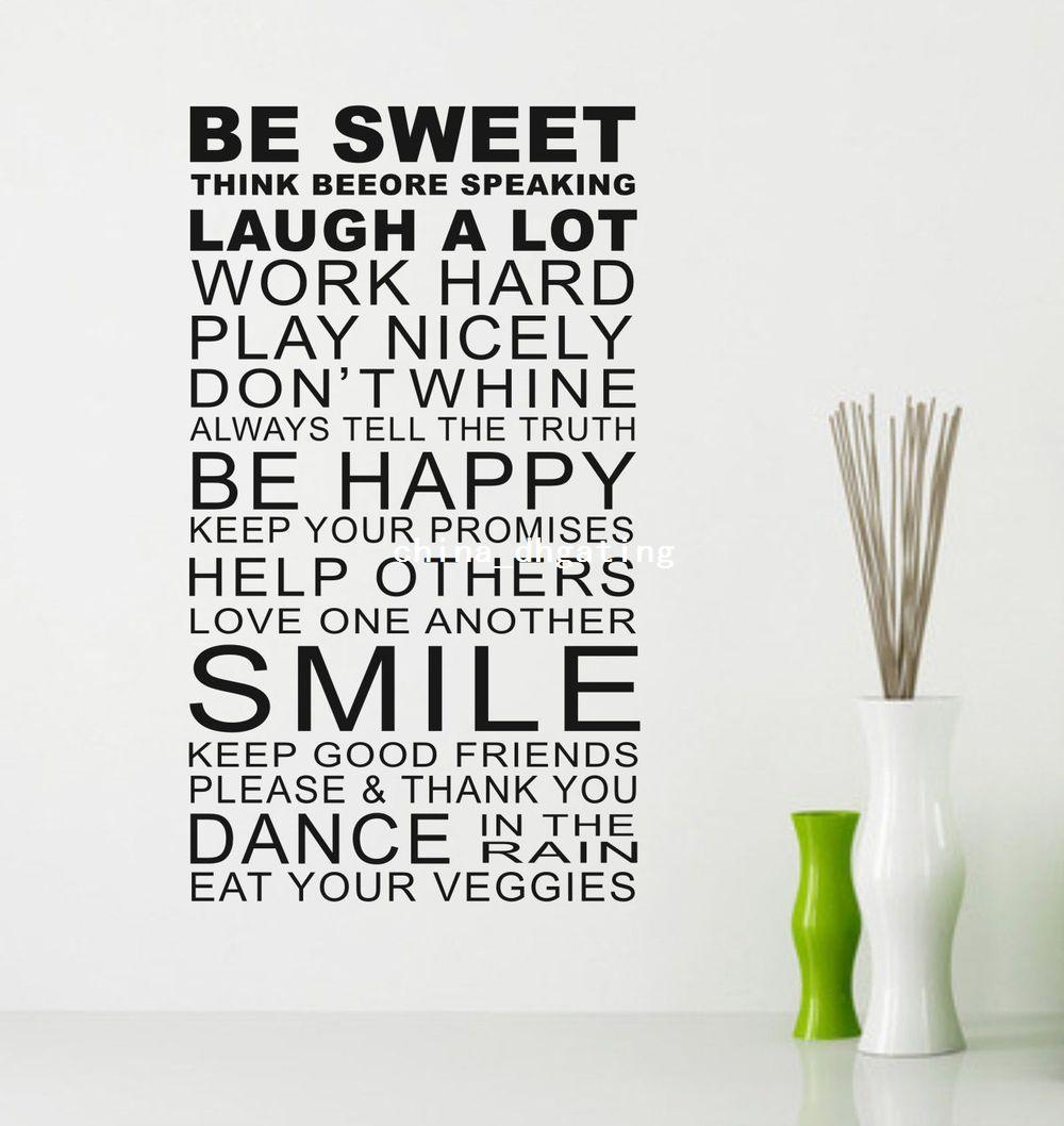 Wall Art Sayings be sweet smile quote wall art stickers words home decor wall