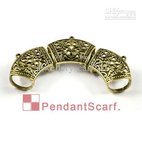 / Mode DIY Bijoux Collier Écharpe Pendentif Antique Bronze En Alliage de Zinc Coeur Design Glisser Bails Tube, Livraison Gratuite, AC0003B