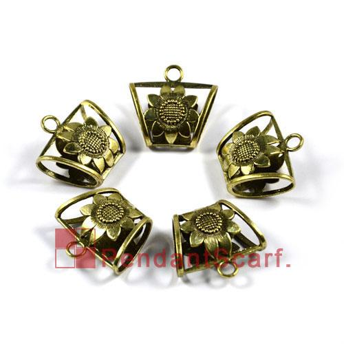 12PCS/LOT, Top Fashion Jewellery Necklace Scarf Pendant Antique Bronze Zinc Alloy Sunflower Slide Bails Tube Charm, Free Shipping, AC0048B
