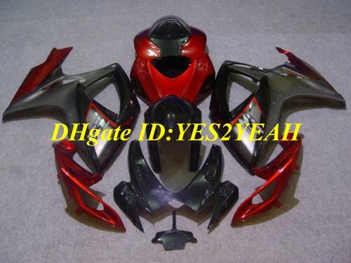 Kit carénage pour SUZUKI GSXR600 750 2006 2007 GSXR600 GSXR750 K6 06 07 GSXR 600 GSXR 750 kit carénage rouge noir SJ47