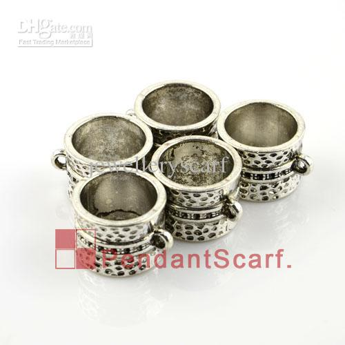 Hot Selling DIY Jewellery Scarf Pendant Accessories Zinc Alloy Ring Design Charm Slide Bails Tube, AC0006