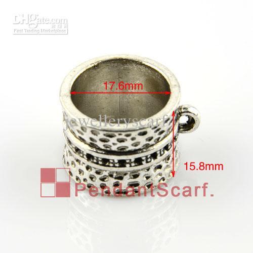 12 pz / lotto, vendita calda gioielli fai da te accessori ciondolo sciarpa in lega di zinco anello di fascino di disegno diapositive tubo, trasporto libero, AC0006