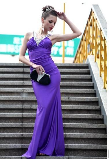 Livraison gratuite - gros top qualité 2 taille formelle dame robe / robes de mariée / v-cou robe