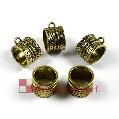 12 pz / lotto, top popolari gioielli fai da te accessori sciarpa bronzo antico in lega di zinco anello di design diapositiva tubo, trasporto libero, AC0006B