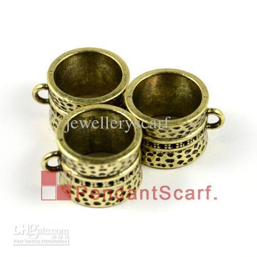 Top Popular DIY Jewellery Scarf Accessories Antique Bronze Zinc Alloy Ring Design Slide Bails Tube, AC0006B