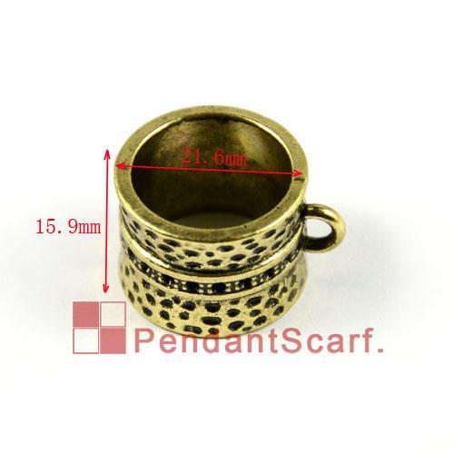 12 UNIDS / LOTE, Top Popular Joyería DIY Accesorios de la Bufanda de Bronce Antiguo de Aleación de Zinc Anillo de Deslice el Tubo de Diseño, Envío Gratis, AC0006B