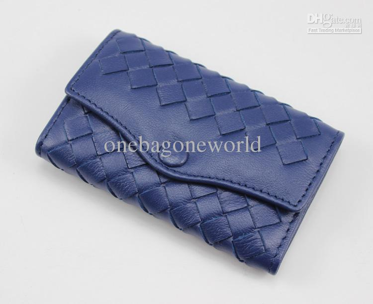 whoesale fashion bag sheepskin 6buckle key holder real genuine leather key wallets knitting key wallet small gift blue color with gift box
