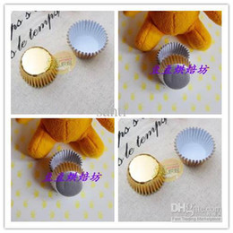 Cup Cake Muffin Holder Canada - 3.5cm base Baking Gold Silver foil paper holder Cupcake liner Muffin Liners Papers Baking Cups cake cup