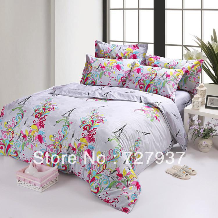 Pink Red Purple Blue Eiffel Tower Calla Flower Cotton Queen Size Duvet  Quilt Doona Cover Dedding Bed Sets Set Sheet Sheets 4pc