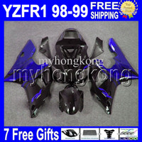 Wholesale 98 r1 blue fairings - High Quality+7 gifts !! Fits 98-99 YAMAHA YZF R1 YZF-R1 YZFR1 YZF1000 YZF 1000 Dark blue flames black MK767 98 99 1998 1999 Fairings Kits