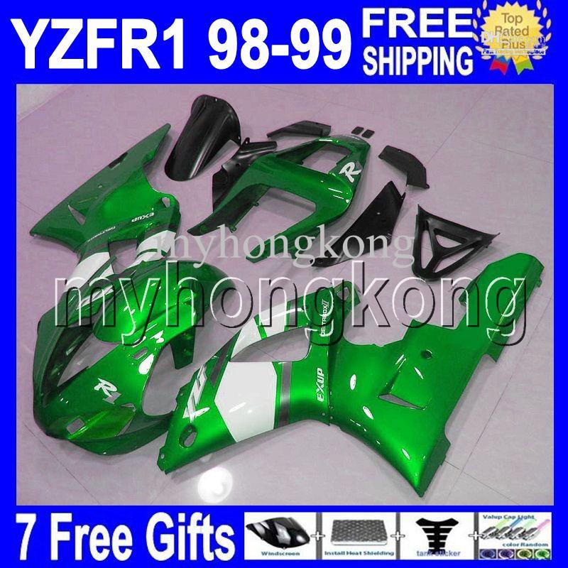 Alta Qualidade + 7 presentes Se encaixa 98-99 YZF YZF R1 YZF-R1 verde branco YZFR1 YZF1000 YZF 1000 MK754 Verde branco 98 99 1998 1999 Kits de Carenagens