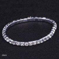Wholesale Ladies Wristbands - 1 Row Silver Plated Crystal Rhinestone Shiny Stretch Fashion Women Lady Bracelet Bangle Wristband Jewelry Fit Party Wedding Bridal ZAU1