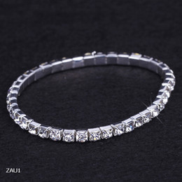 Wholesale Row Stretch Rhinestone Bracelet Crystal - 1 Row Silver Plated Crystal Rhinestone Shiny Stretch Fashion Women Lady Bracelet Bangle Wristband Jewelry Fit Party Wedding Bridal ZAU1