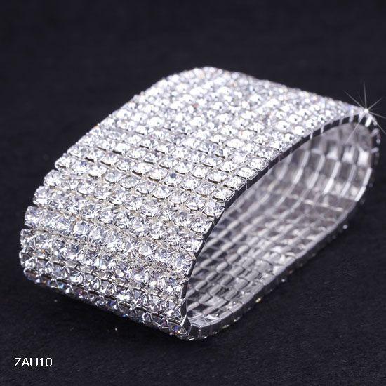 10 rangées argentées cristal cristal strass brillant Stretch Mode Femmes Lady Chic Bracelet Bracelet Bracelet Bijoux Fit De Mariage Bridal Zau10
