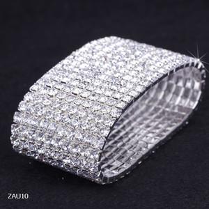 10 Rows White Rhinestone Bracelet Elastic Stretchy Wristband Bangle Party Wedding Bridal Jewelry ZAU10*5