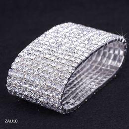 Wholesale Stretchy Rhinestone Bracelets - 10 Rows White Rhinestone Bracelet Elastic Stretchy Wristband Bangle Party Wedding Bridal Jewelry ZAU10*5