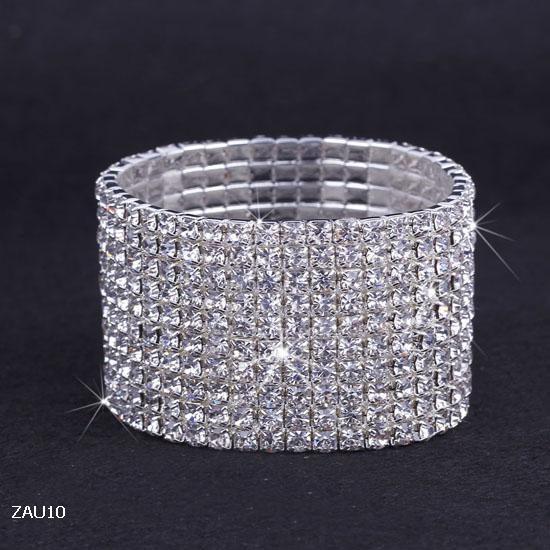 10 rijen verzilverd kristal strass glanzend stretch mode vrouwen dame chic armband armband polsband sieraden fit bruiloft bruids zaus10