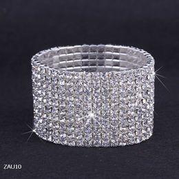 Wholesale Ladies Wristbands - 10 Rows Silver Plated Crystal Rhinestone Shiny Stretch Fashion Women Lady Chic Bracelet Bangle Wristband Jewelry Fit Wedding Bridal ZAU10