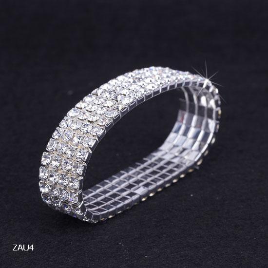 Vogue 4 Rows White Series Rhinestone Bracelet Elastic Stretchy Wristband Bangle Party Wedding Bridal Jewelry ZAU4*5