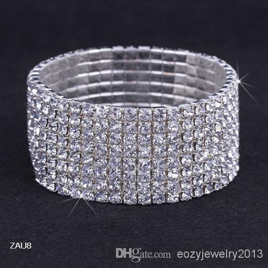 8 rijen verzilverd kristal strass glanzend stretch mode vrouwen dame elastische armband armband polsband sieraden fit bruiloft bruids zau8