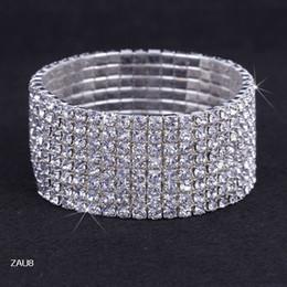 $enCountryForm.capitalKeyWord Canada - 8 Rows Silver Plated Crystal Rhinestone Shiny Stretch Fashion Women Lady Elastic Bracelet Bangle Wristband Jewelry Fit Wedding Bridal ZAU8