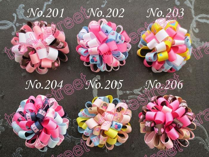 New CH flower hair bow loopy bow mix color girls baby hair bow ponytial holder/hari clip