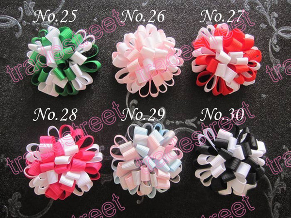 New CH 100pcs flower hair bow loopy bow mix color girls baby hair bow ponytial holder/hari clip