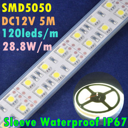 Wholesale Double Rows Waterproof Led Strip - LED Flexible Strip Light SMD5050 DC12V 120leds m 28.8W m 144W Sleeve Waterproof Warm White Double Row Two Line Self Adhesive LED 160229