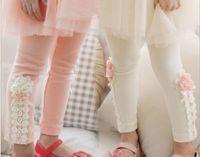 Wholesale Kids White Lace Tights - 2013 Autumn new style children pants pure cotton lace flower girls leggings 2-7Year kids render pants 100-110-120-130-140 5pcs lot QS208