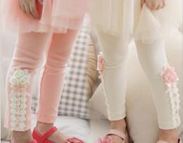 Wholesale Kid Tights White - 2013 Autumn new style children pants pure cotton lace flower girls leggings 2-7Year kids render pants 100-110-120-130-140 5pcs lot QS208