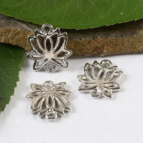 Encantos de lótus de prata tibetana descobertas H1689