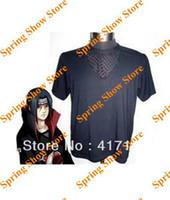 naruto akatsuki itachi uchiha kostüm großhandel-Freies Verschiffen Naruto Akatsuki Uchiha Itachi schwarzes Fischnetz-T-Shirt Cosplay Kostüm-Uniform
