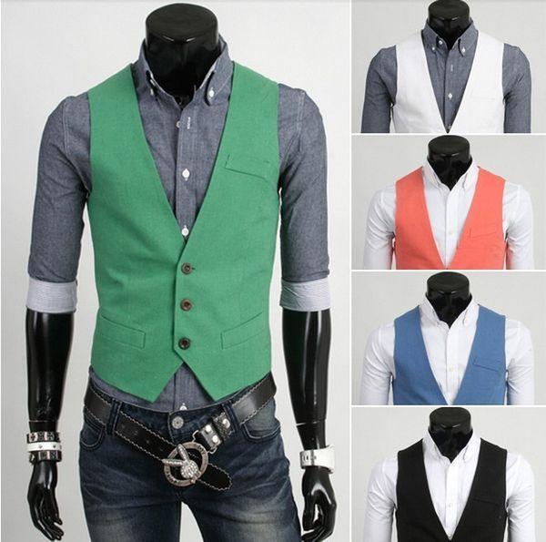 top popular new arrive men's vest casual mens vest 5 colurs green 2879 2019