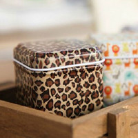 Wholesale Fashion Leopard Pattern Mini Tin Box Tea Caddy Candy Toothpick Box Seal Storage Box Four Square Iron Box For Kid Gifts