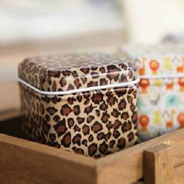 Wholesale Square Metal Gift Box - Fashion Leopard Pattern Mini Tin Box Tea Caddy Candy Toothpick Box Seal Storage Box Four Square Iron Box For Kid Gifts