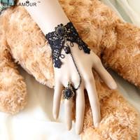 Wholesale Vintage Lace Bracelet Ring - Lady Bracelet Ring Set Gothic Vintage Adjustable Bronze Alloy Accessories Black Lace Crochet beads Jewelry Ajustable Boutique WS-125*1
