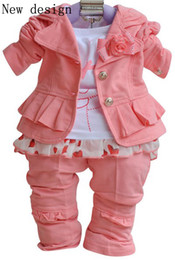 Wholesale Sweet Suits - Fashion Girl Suit Three-piece Set Sweet Pink Color Party Style Kids Clothing Long Sleeves T-shirt Suit Pants