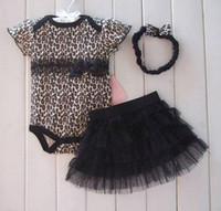 Wholesale Skull Tutu Set - Retail 1set Summer Baby Girls 3-Pc skirt Set Girls Skull Romers Sets Infant Leopard Rompers Bodysuit & Ruffle Skirt Dress & girls Headband