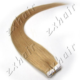 """Wholesale Tape Hair Extensions 27 - Wholesale - 1 set 16""""-24""""Tape Skin in Remy Human Hair Extensions #27 dark blonde, 20pcs set"""