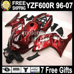 Wholesale Yamaha Yzf Thundercat Fairing - 7gifts+Tank For 96-07 YAMAYA ! YZF600R Dark red black Thundercat 96 97 98 99 00 01 02 03 04 05 06 07 MT05 Red YZF 600R YZF-600R ABS Fairing