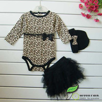 Wholesale Color Leopard Jumpsuit - Autumn girls leopard sets, 3pc sets,long sleeved romoers gilrs jumpsuits & girls tutu skirt dress & infant headbad or baby bow hats 6set lot