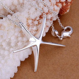 Wholesale Starfish Rhinestones - pretty Lady 925 SILVER plated Christmas gift fashion Retro Classic Gorgeous starfish Noble star pendant Necklace Beautiful jewelry P27